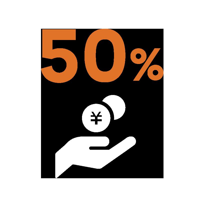 50%のコストダウン