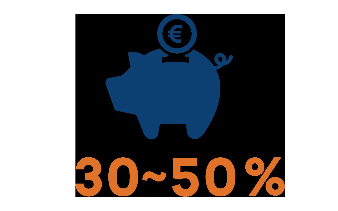30%~50%のコストダウン